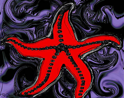 Nature Digital Art - Red Starfish In Stormy Seas by Abstract Angel Artist Stephen K