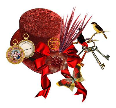 Mixed Media - Red Steampunk Top Hat Art by Elizavella Bowers
