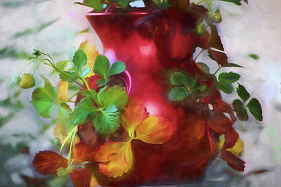 Painting - Red Strawberry Pot by Bonnie Bruno