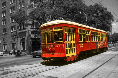Photograph - New Orleans Garden District - Red Street Car by Art America Gallery Peter Potter