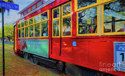Photograph - Red Streetcar Speeds By Nola- Art by Kathleen K Parker