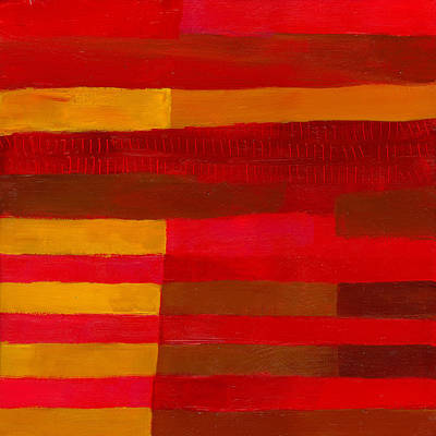 Abstract Pattern Painting - Red Stripes 1 by Jane Davies