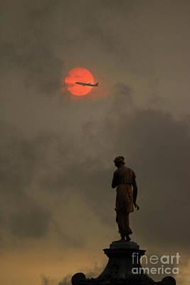 Photograph - Red Sun At Bushy Park London by Julia Gavin