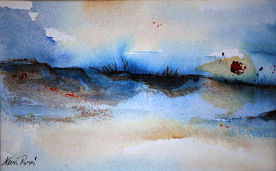 Red Sun Beach Art Print by Neva Rossi