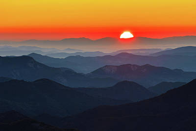 Photograph - Red Sun In The End Of Mountain Range by Evgeni Dinev