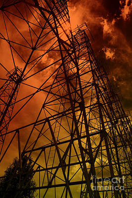 Photograph - Red Sun Oil Well by M K Miller