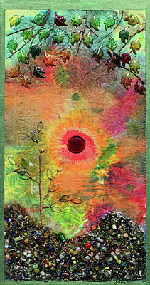 Mixed Media - Red Sun Rising by Donna Blackhall