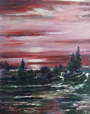 Painting - Red Sun Set  by Laila Awad Jamaleldin
