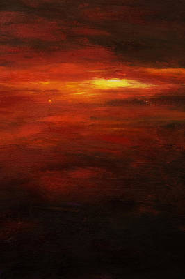 Simple Abstract Art Painting - Red Sun by Tara Thelen - Printscapes