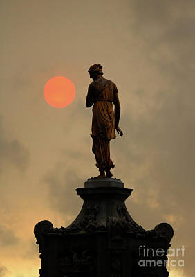 Photograph - Red Sun With Diana Fountain Bushy Park London by Julia Gavin