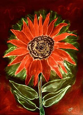 Digital Sunflower Mixed Media - Red Sunflower by Maria Urso