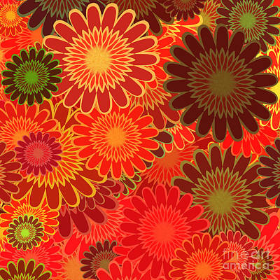 Digital Art - Red Sunflower Pattern by Methune Hively