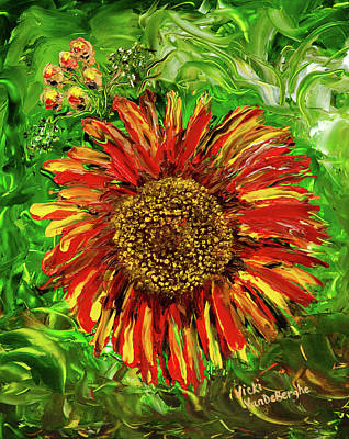 Painting - Red Sunflower by Vicki VanDeBerghe