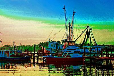 Painting - Red Sunrise And The Shrimp Boat by Michael Thomas