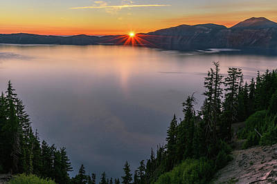 Photograph - Red Sunrise At Crater Lake by John Hight