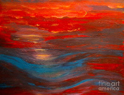 Red Sunset Abstract  Art Print by Nancy Rucker