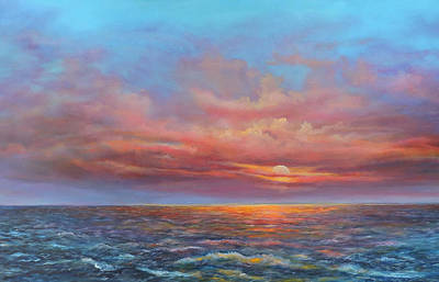 Red Sunset At Sea Art Print