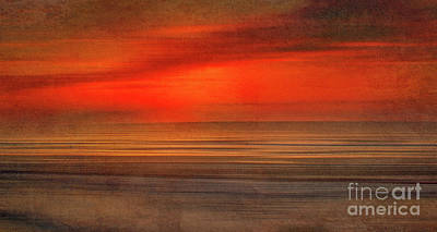 Digital Art - Red Sunset At The Beach by Randy Steele