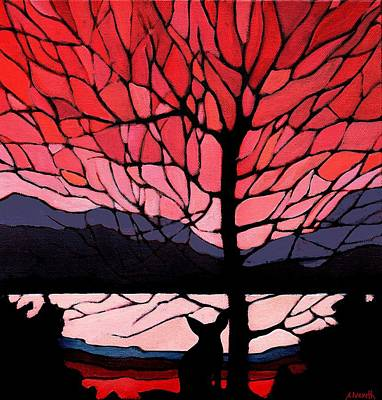 Wall Art - Painting - Red Sunset Fox by Alison Newth