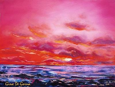 Painting - Red Sunset by Gina De Gorna