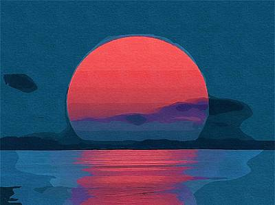 Digital Art - Red Sunset by Mitchell Gibson