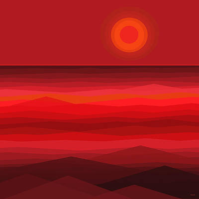 Reality Digital Art - Red Sunset by Val Arie