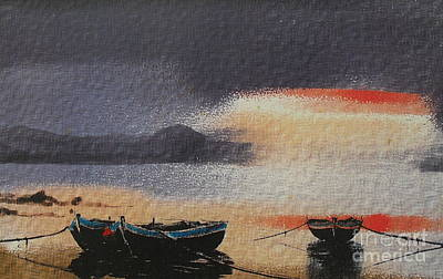 Painting - Red Sunset by Val Byrne