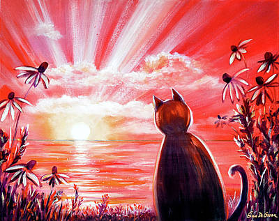 Painting - Red Sunset With A Cat by Gina De Gorna