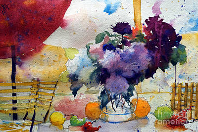 Red Sunshade And  Bouquet Art Print by Andre MEHU