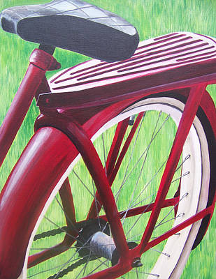 Red Super Cruiser Bicycle Art Print by Charlene Cloutier