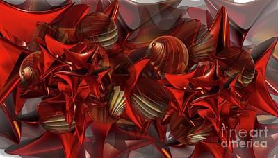 Digital Art - Red Swarm by Ron Bissett