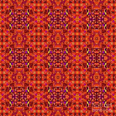 Digital Art - Red - T J O D Mandala Series Puzzle 4 Tile by Helena Tiainen
