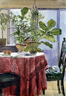 Potted Plant Painting - Red Table Cloth by Donald Maier