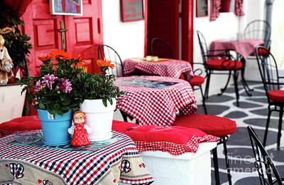 Checkered Tablecloth Photograph - Red Tablecloths In Mykonos by John Rizzuto