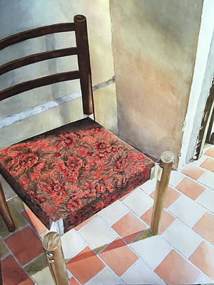 Ladder Back Chairs Painting - Red Tapestry Chair by Cathy Klopfenstein