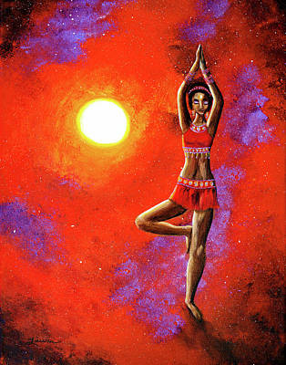 Red Tara Yoga Goddess Original by Laura Iverson