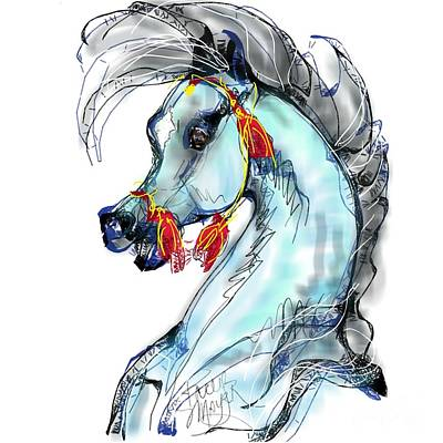 Digital Art - Red Tassle Stallion by Stacey Mayer