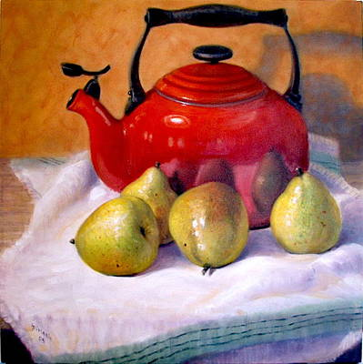 Art Print featuring the painting Red Teapot And Pears by Donelli  DiMaria