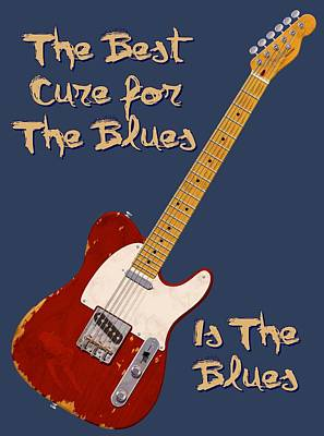 Tele Photograph - Red Tele Cure For Blues T Shirt by WB Johnston