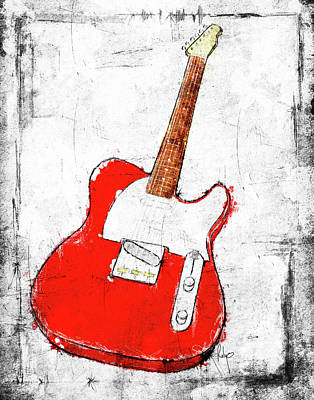 Sound Digital Art - Red Telecaster Fine Art Illustration By Roly O by Roly Orihuela