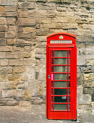 Old Phone Booth Photograph - Red Telephone Booth by Georgia Fowler
