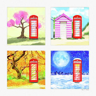 Painting - Red Telephone Box - British Seasons by Mark Tisdale
