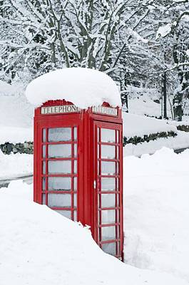Old Phone Booth Photograph - Red Telephone Box In Heavy Snow by Duncan Shaw