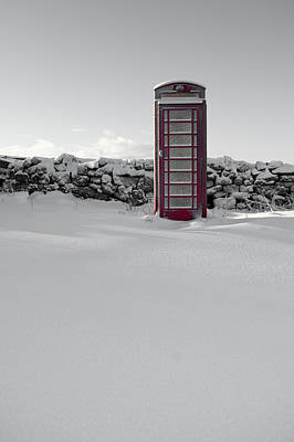 Photograph - Red Telephone Box In The Snow II by Helen Northcott