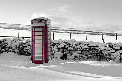 Photograph - Red Telephone Box In The Snow Iv by Helen Northcott