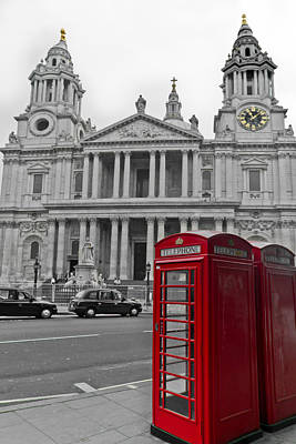 Photograph - Red Telephone Boxes In London by Gary Eason