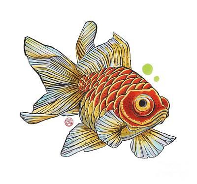 Red Telescope Goldfish Print by Shih Chang Yang
