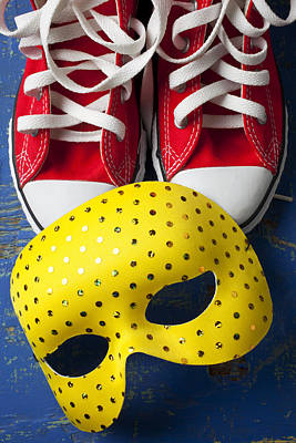 Photograph - Red Tennis Shoes And Mask by Garry Gay