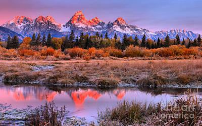 Photograph - Red Teton Peak Reflections by Adam Jewell