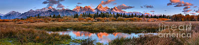 Photograph - Red Teton Peaks And Clouds Panorama by Adam Jewell